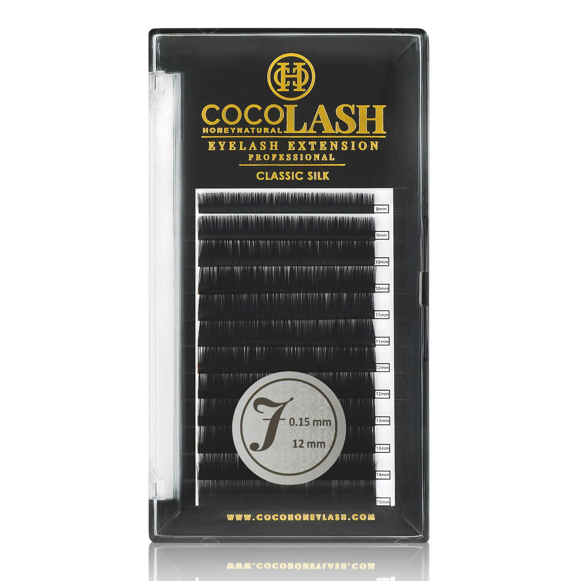 COCO Honey Lash Eyelash Extensions, Classic J Curl [0.15mm], Faux Mink Individual Lash Extensions (Length: 8mm / 10mm / 11mm / 12mm / 13mm / Mix) (12mm)