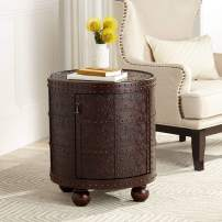 "Hadley 21 3/4"" Wide Nailhead Trim Round Accent Table - Kensington Hill"