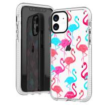 iPhone 11 Clear Case,Aloha Summer Cute Tropical Pink Blue Trendy Flamingos Birds Hawaii Beach Girls Women Cute Colorful Trendy Hipster Soft Protective Clear Case with Design Compatible for iPhone 11