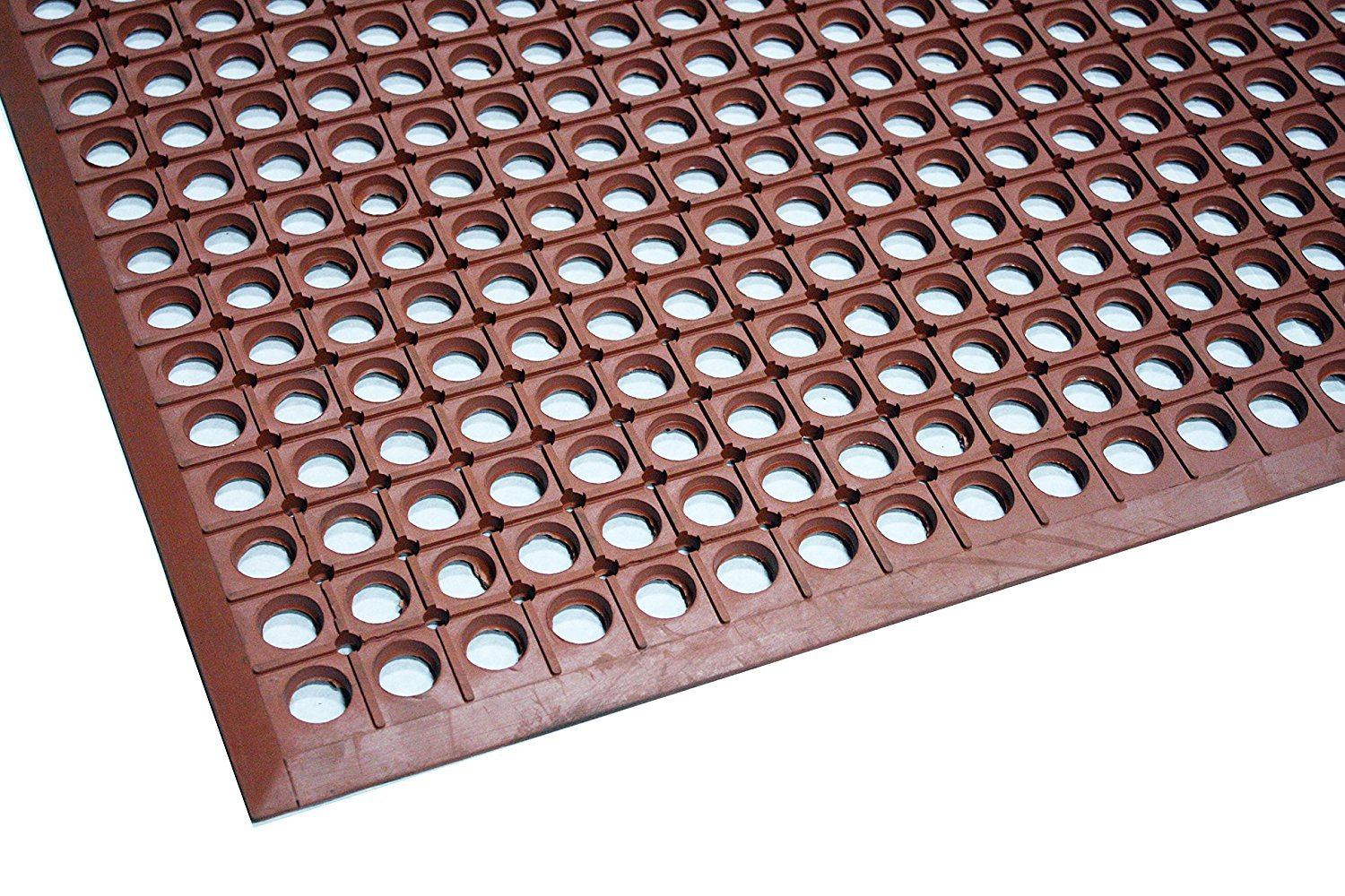 Durable Workstation Light Rubber Anti-Fatigue Drainage Mat for Wet Areas, 3' x 5', Red