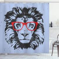 "Ambesonne Animal Shower Curtain, Grunge Lion Portrait with Hipster Glasses Nerd Humor Comic King Illustration, Cloth Fabric Bathroom Decor Set with Hooks, 84"" Long Extra, Blue Charcoal"
