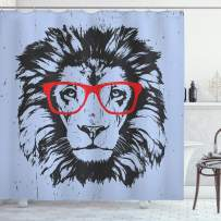 """Ambesonne Animal Shower Curtain, Grunge Lion Portrait with Hipster Glasses Nerd Humor Comic King Illustration, Cloth Fabric Bathroom Decor Set with Hooks, 75"""" Long, Blue Charcoal"""