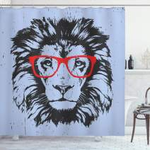 """Ambesonne Animal Shower Curtain, Grunge Lion Portrait with Hipster Glasses Nerd Humor Comic King Illustration, Cloth Fabric Bathroom Decor Set with Hooks, 84"""" Long Extra, Blue Charcoal"""