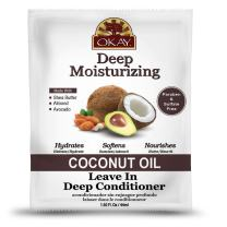 OKAY | Coconut Oil Deep Moisturizing Leave-In Conditioner | For All Hair Types & Textures | Replenish Moisture | With Shea Butter, Almond & Avocado | Free of Sulfate, Silicone & Paraben | 1.5 oz