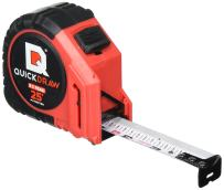 QUICKDRAW PRO Easy-Read Self Marking 25' Foot Tape Measure - 1st Measuring Tape with a Built in Pencil - Contractor Grade Steel Tape - Power Locking Tape Ruler