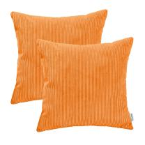 CaliTime Pack of 2 Cozy Throw Pillow Covers Cases for Couch Bed Sofa Ultra Soft Corduroy Striped Both Sides 16 X 16 Inches Bright Orange