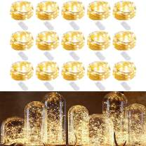 HOMELYLIFE 15 Pack Fairy Lights 7ft 20 LED Battery Operated String Lights Firefly Lights Waterproof Silver String Wire Lights for DIY, Wedding, Party, Christmas Decoration (Warm White)