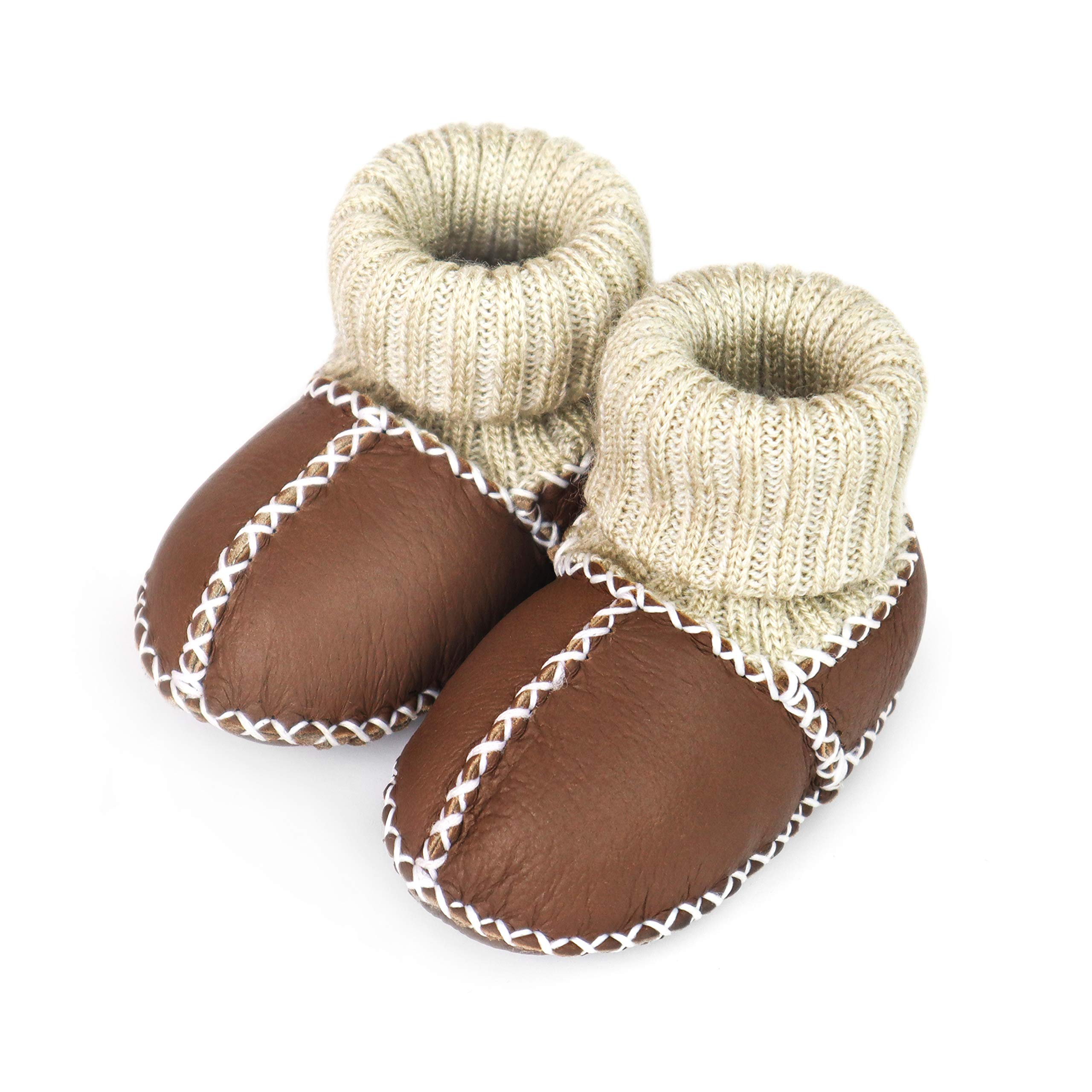 Pikababy Baby Moccasin Booties, Handmade Genuine Leather, Indoor Soft Sole Warm Shoes for Infant Baby Boys and Girls