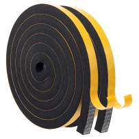 Foam Seal Tape-2 Rolls, 1/2Inch Wide X 1/2Inch Thick Foam Strip Self Adhesive Neoprene Rubber Weather Stripping for Doors Tape Sliding Door Weather Strip Total 13 Feet Long(6.5ft x 2 Rolls)
