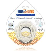 TubRing The Ultimate Tub Drain Protector Hair Catcher/Strainer/Snare, Floral - White