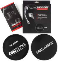 MIGABRI Double Sided Fitness Core Sliders - Ultimate Exercise Sliders for Working Out at The Gym, Home or Travel - Total Body, Ab & Core Trainer Equipment for All Surfaces - Workout Guide Included