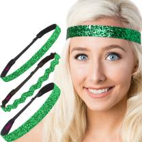 Hipsy Women's Adjustable NO SLIP Bling Glitter Headband Mixed 3pk (Emerald Green)