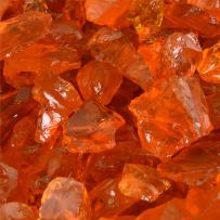 Tangerine - Crushed Fire Glass for Indoor and Outdoor Fire Pits or Fireplaces | 10 Pounds | 1/2 Inch - 3/4 Inch