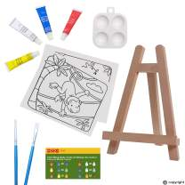 ETI Toys, 11 Piece Kids Art Painting Set with Wood Easel, 2 Wild Animals Themed Canvases, 4 Color Acrylic Paints, 2 Paint Brushes, Palette. Arts Studio for Artist Children Ages 6+ Years Old.