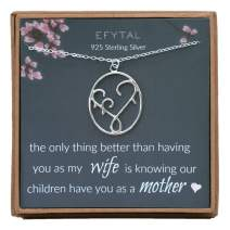 EFYTAL Gifts for Wife, 925 Sterling Silver Mother & Children Necklace, Mom Necklaces for Women, Best Birthday Gift Ideas, Pendant Mother's Jewelry For Her, Mothers Day