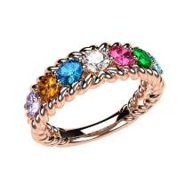 NANA Rope Mothers Ring 1 to 10 Simulated Birthstones in Sterling Silver or 10k White, Yellow or Rose Gold