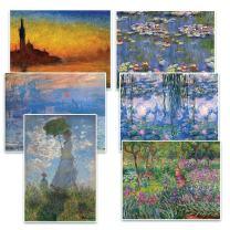 Creanoso Claude Monet Famous Paintings Postcards (12 Packs) - Premium Stocking Stuffers Gift Ideas for Men Women Teens - Uplifting Card Stock - Artistic Impressions Bulk Card Pack