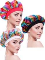 Blulu 3 Pieces Sleep Cap Satin Bonnet Night Head Cover Sleeping Soft Hair Turbans for Women and Girls (Style Set 7)