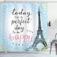"Ambesonne Eiffel Tower Shower Curtain, Perfect Day Eiffel Tower Polka Dot Handwriting Typography Sketch Paris Print, Cloth Fabric Bathroom Decor Set with Hooks, 75"" Long, Blue Black"