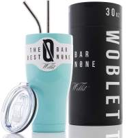 BAR NONE Woblet | 30 oz Stainless Steel Tumbler Vacuum Insulated Rambler Coffee Cup Double Wall Travel Flask Mug Insulated Stainless Steel Coffee Cup with Lid, 2 Straws, Gift Box (Fifth Avenue Blue)