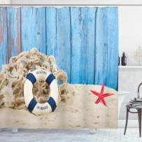 """Ambesonne Buoy Shower Curtain, Life Buoy with Welcome Message on Beach Coastline Vintage Style Picture Print, Cloth Fabric Bathroom Decor Set with Hooks, 70"""" Long, Blue Sand"""