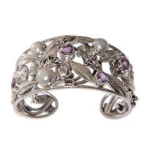 "NOVICA Amethyst White Cultured Freshwater Pearl Sterling Silver Bracelet, 5.5"" 'Temple Garden'"