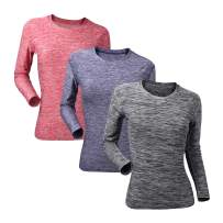 Women's Dry Fit Workout Long Sleeve Sport T Shirt Compression Tops