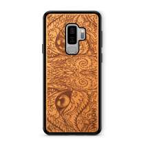 Wooden Phone Case (Cat Eyes in Mahogany) Compatible with Galaxy S9 Plus, Samsung Galaxy S9 Plus