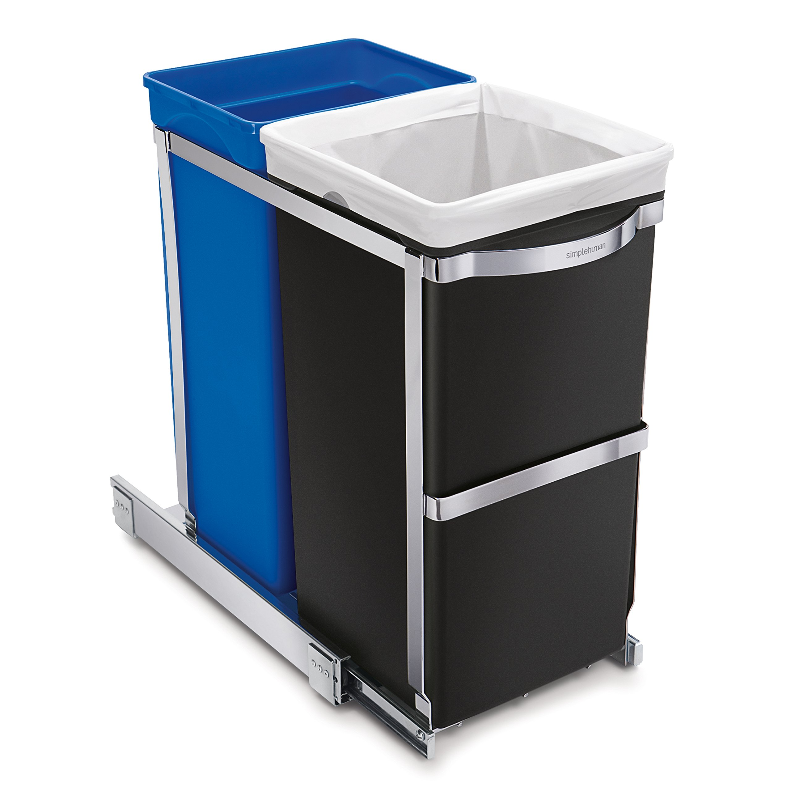 simplehuman 35 Liter / 9.3 Gallon Dual Compartment Under Counter Kitchen Cabinet Pull-Out Recycling Bin and Trash Can