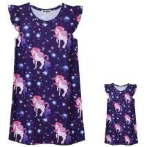 Jxstar Matching Doll & Girls Nightgowns Pajamas Princess Night Shirts Sleepwear