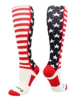 MadSportsStuff USA American Flag Stars and Stripes Over The Calf Socks