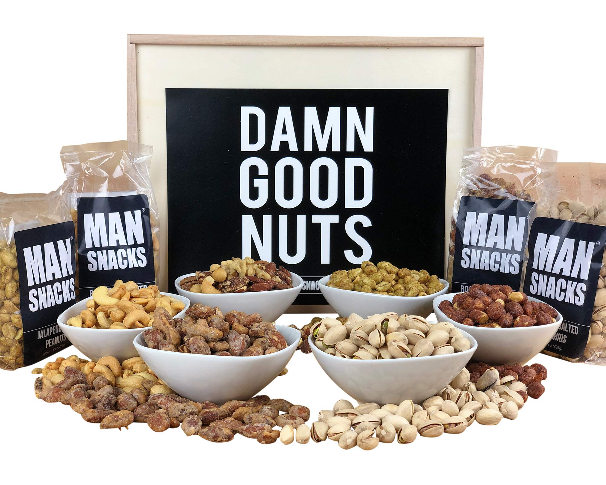 ManSnacks - DAMN GOOD NUTS - 3 pounds of really, really, really good nuts, packed in a manly wooden gift box. It's a gift basket for real men.