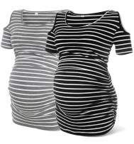 Rnxrbb Womens Short Sleeve Maternity Shirts Ruched Maternity T-Shirt Top Cacual Pregnancy Clothes
