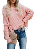 Biucly Women's Casual Crew Neck Color Block Warm Long Sleeve Loose Pullovers Jumpers Knit Blouse Sweater(S-2XL)