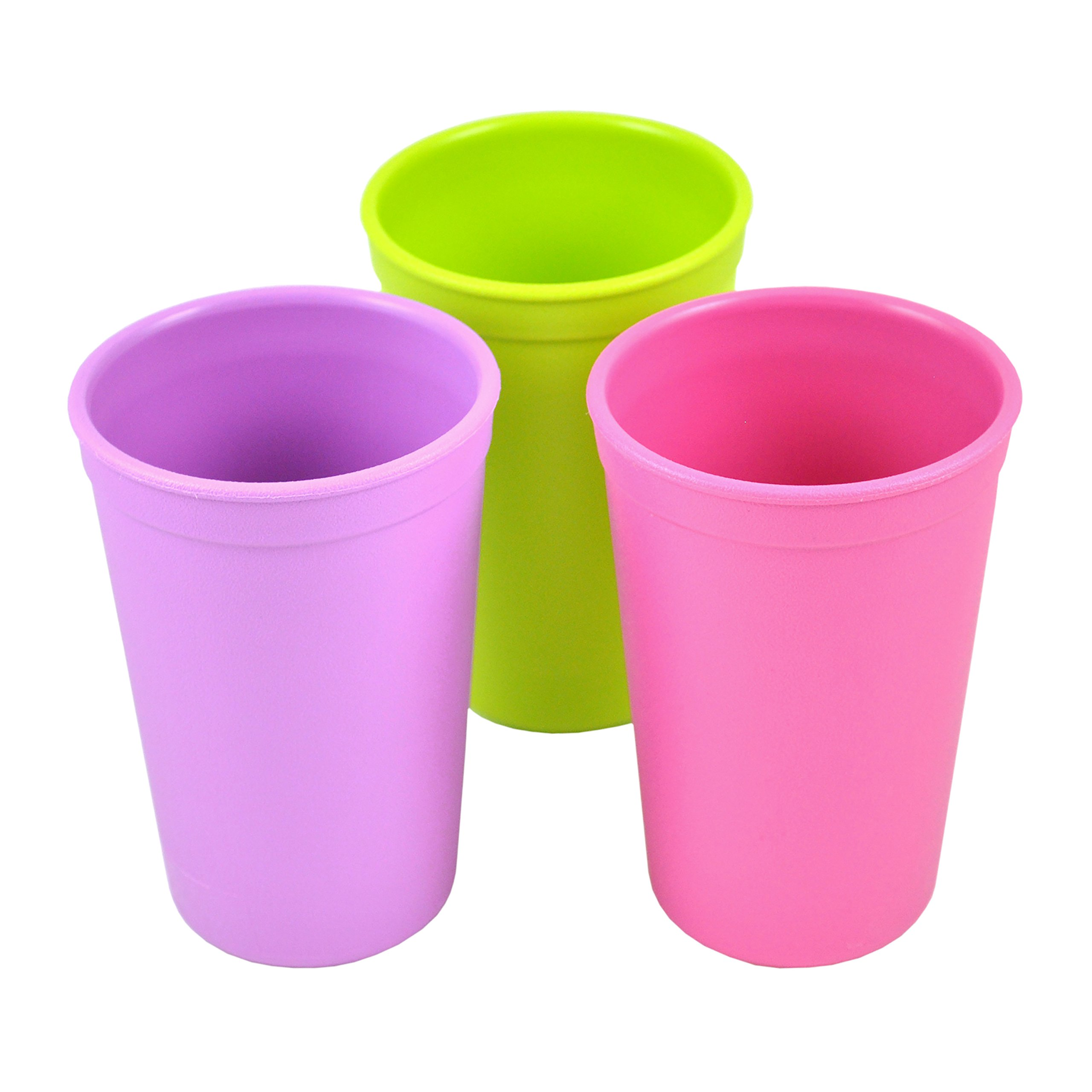 Re-Play Made in the USA 3pk Drinking Cups for Baby and Toddler - Purple, Green, Bright Pink (Butterfly)