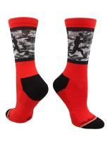 MadSportsStuff Football Socks with Player on Camo Athletic Crew Socks (Multiple Colors)