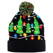 JOYIN Christmas Light-up Knitted Beanie Cap Ugly Sweater LED Lit-up Hat with 6 Flashing Modes Party Accessories Supplies