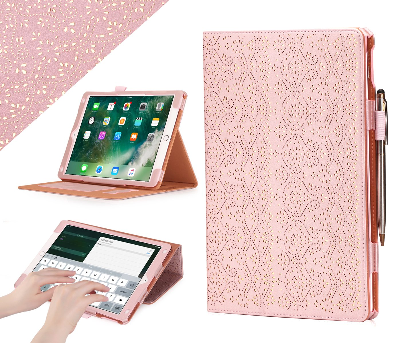 """WWW Case for iPad Air 10.5"""" (3rd Gen) 2019/iPad Pro 10.5"""" 2017, [Luxury Laser Flower] Premium PU Leather Case Protective Cover with Auto Wake/Sleep Feature,Multiple Viewing Angles–Rose Gold"""