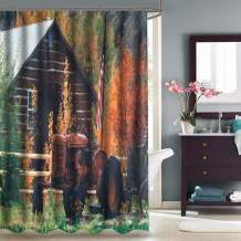 VVA Fabric Shower Curtain with Hooks for Bathroom Waterproof Machine Washable,Breathable,72x72 inch,Fall,Rustic Cabin with Rusty Tractor Country Cottage House Seasonal Colors Multicolor