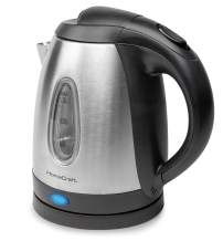 HomeCraft HCWK1SS 1-Liter Brushed Stainless Steel 1500-Watt Electric Water Kettle With Boil-Dry Protection
