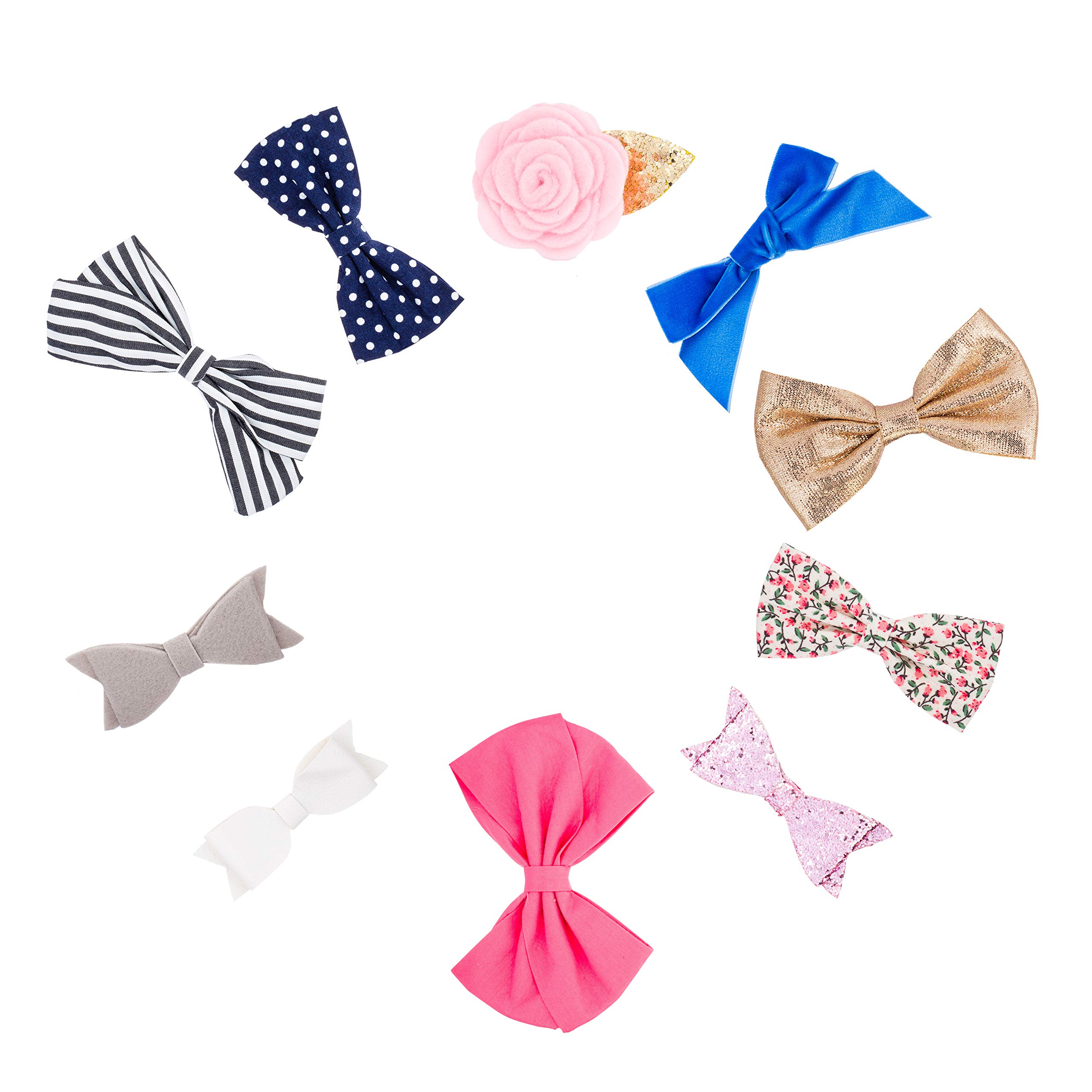 """Parker Baby Girl Bows Clips, Assorted 10 Pack of Hair Accessories for Girls -""""The Essentials Set"""""""