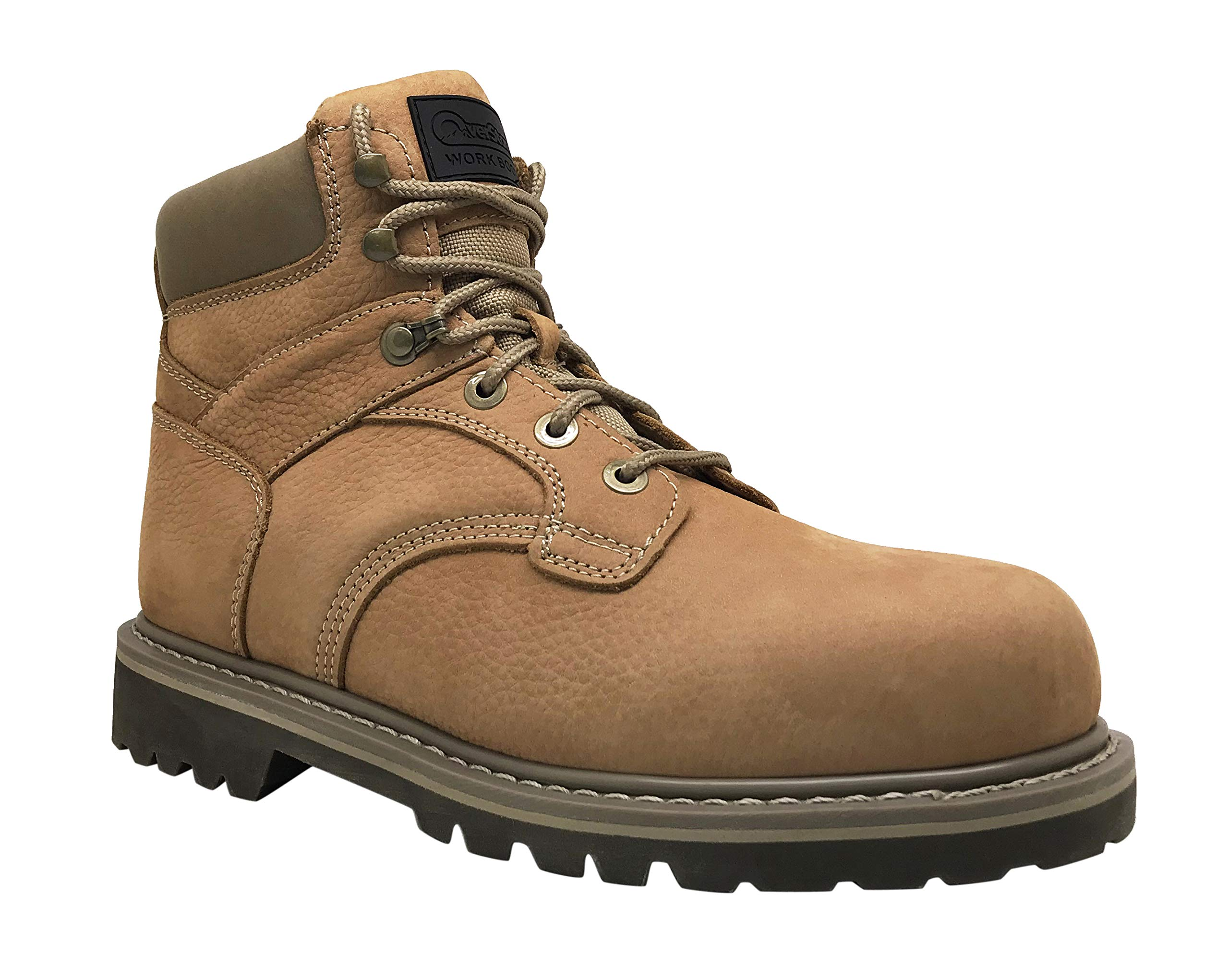 Overstone Men's 6'' Steel Toe Leather Work Boot, Electric Hazard Protection, Industrial and Construction Work Boots