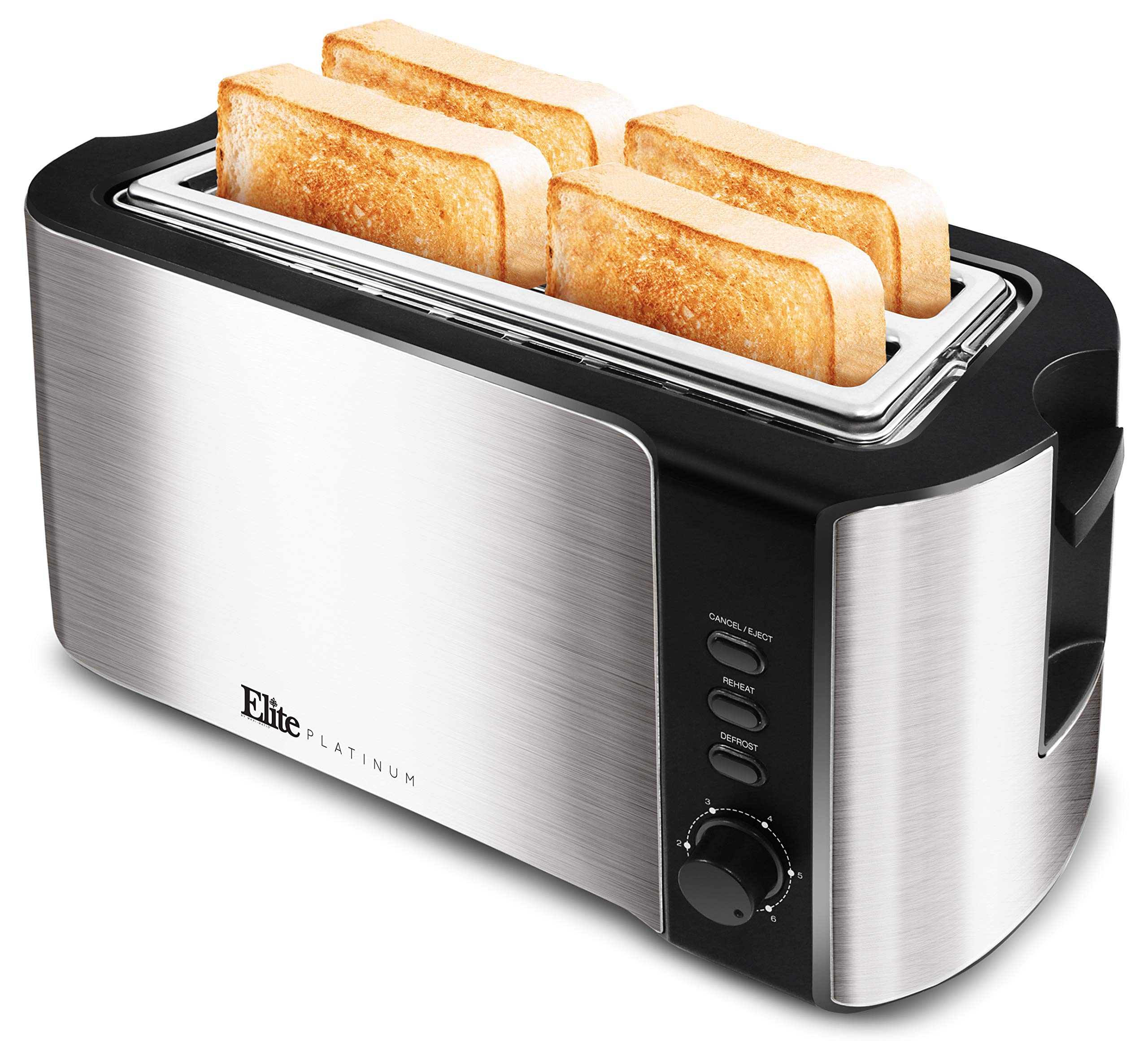 """Maxi-Matic ECT-3100 Cool Touch Long Extra Wide 1.25"""" Slots for Bagels Toaster, 4 Slice, Stainless Steel & Black"""