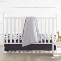 Levtex Baby Nest & Nod Tristen 3pc Bedding Set, Cotton, Blue, (Quilt, Dust Ruffle, Crib Fitted Sheet)