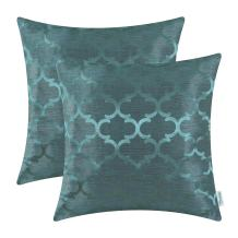 CaliTime Pack of 2 Cushion Covers Throw Pillow Cases Shells for Home Sofa Couch Modern Shining & Dull Contrast Quatrefoil Accent Geometric 16 X 16 Inches Teal