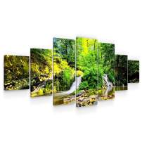 STARTONIGHT Huge Canvas Wall Art - Green Forest Panorama Landscape Large Modern Framed Set of 7 40 x 95 Inches