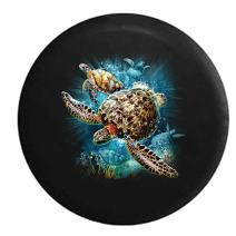 American Unlimited Salt Water Sea Turtle Family Swimming in The Ocean Light Full Color Spare Tire Cover (Fits: Jeep Wrangler Accessories or SUV Camper RV) Black 32 in