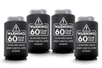 Coolies Can Coolers Collapsible Beer Soft Drinks Bottle Soda Sleeves Durable Insulators Premium Quality for Birthday Parties 60 WARNING Black Set of 24