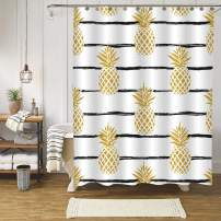 MitoVilla Gold Pineapple Shower Curtain with Black Striped Pattern Bathroom Decor, Summer Tropical Fruit with Brush Lines Bathroom Accessories, Pineapple Gifts for Men and Women, Kids Girls, 72W x 84L