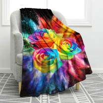 """Jekeno Rose Rainbow Blanket Colorful Print Comfort Soft Warm Throw Blanket for Sofa Chair Bed Office Travelling Camping Gift 50""""x60"""""""